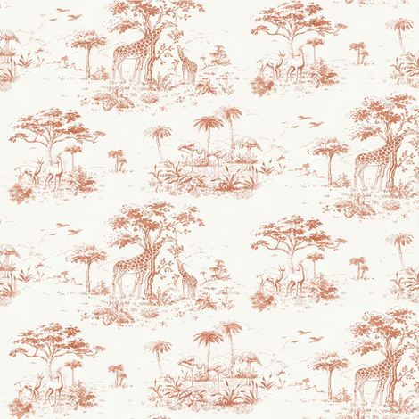 Safari Wallpaper Jungle Exotic Tropical Giraffe Trees Flowers Birds From Rasch