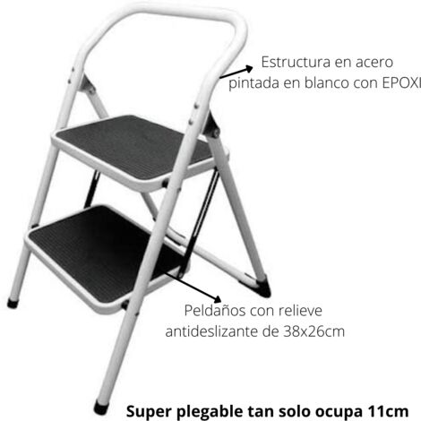 SAFE TABURETE DOMESTICO PLEGABLE DE ACERO, 4 PELDAÑOS DE 36 X 26 CM CON BASE ANTIDESLITAZNTE EN GOMA CON RELIEVE, CARGA MAXIMA 150KG, ERGONMICA, IDEAL PARA ESPACIOS REDUCIDOS, PESO 4,5KG, SISTEMA DE BLOQUEO ANTI-CIERRE SEGÚN LA NORMA EN-14185