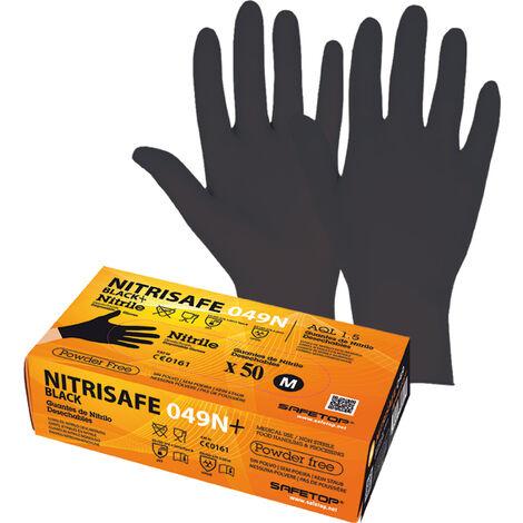 Safetop Guante desechable nitrilo sin polvo 049N+ Negro (Caja 100 Unidades) Talla 8