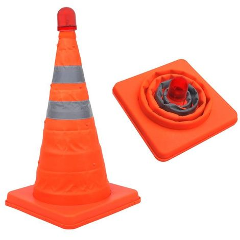 Safety cone collapsible with LED light