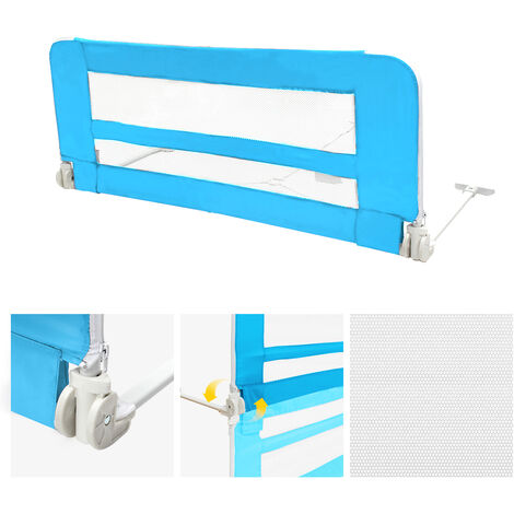 Safety Rail for Child's Bed, Baby and Toddler Safety Bed Rail, 1.02 meters (3.3 feet), Blue, Material: Nylon fabric, Plastic