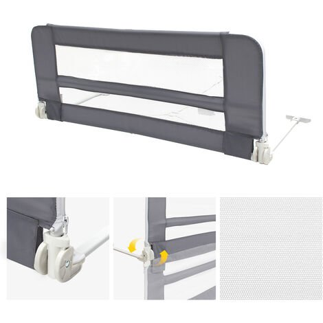 Safety Rail for Child's Bed, Baby and Toddler Safety Bed Rail, 1.02 meters (3.3 feet), Grey, Material: Nylon fabric, Plastic