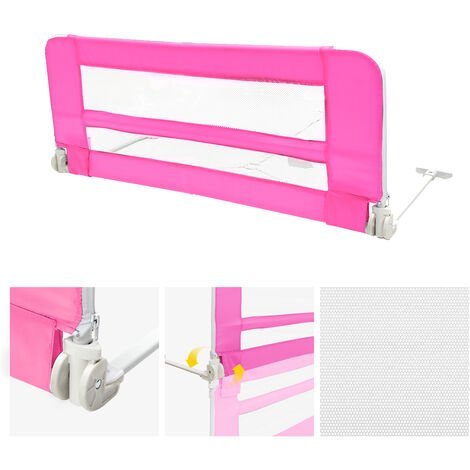 Safety Rail for Child's Bed, Baby and Toddler Safety Bed Rail, 1.02 meters (3.3 feet), Pink, Material: Nylon fabric, Plastic