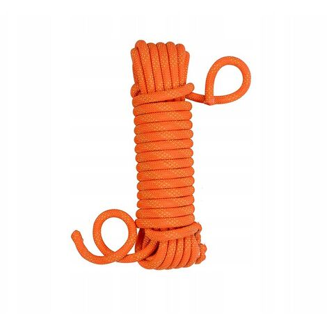 Safety rope nylon rope rope climbing outdoor climbing rope climbing rope rescue rope descent rope climbing rope 10mm orange (10 meters + 2 carabiners