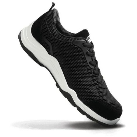 Safety Trainers, Black/White, Size 9