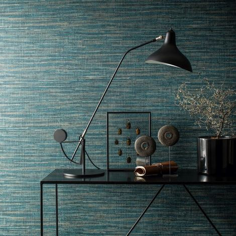 Saffiano Deep Teal Blue Taupe Luxury Wallpaper Paste The Wall Textured Vinyl