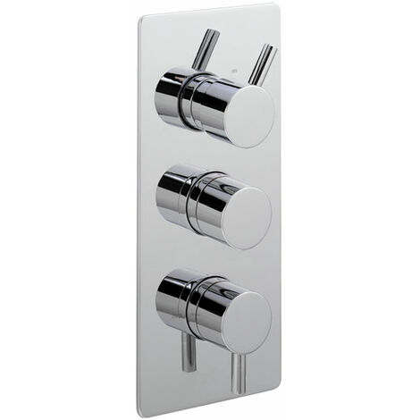 Sagittarius Piazza Concealed Shower Valve with 3-Way Diverter Triple Handle - Chrome