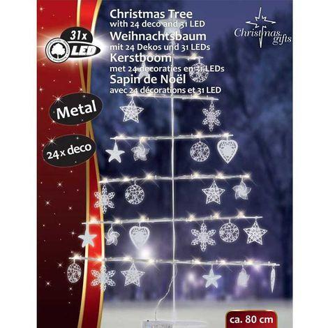 Decorazioni Natalizie Da Esterno.Sagoma Ad Albero Di Natale 31led Alto 80cm Con Decorazioni Per Esterno Interno