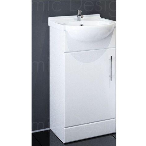 Sahara 450mm Floor Standing Bathroom Vanity Unit In White With Basin