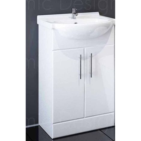 Sahara 550mm Bathroom Vanity Unit In White With Basin