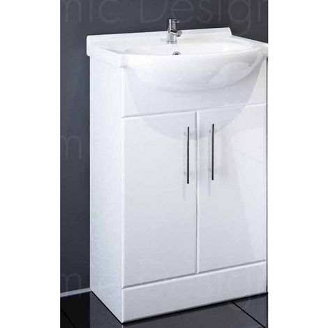 Sahara 650mm Bathroom Vanity Unit In White With Basin