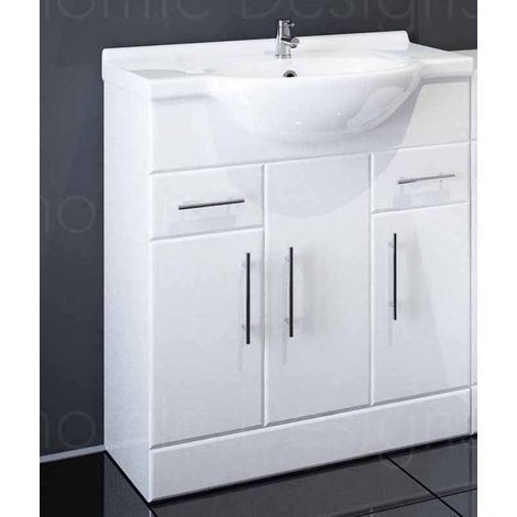 Sahara 750mm Bathroom Vanity Unit In White With Basin