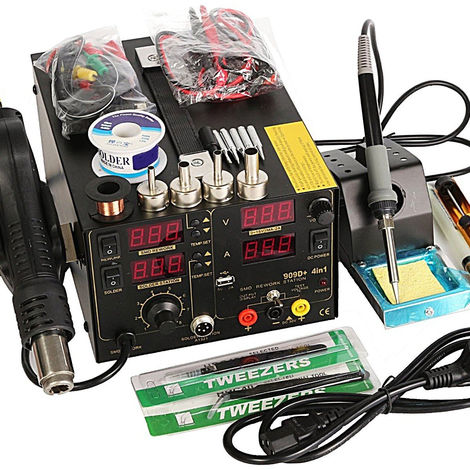 Saike 220V 909D + Station de soudage de reprise + pistolet à Air chaud + alimentation CC 3 en 1 ensemble multifonction avec accessoires complets