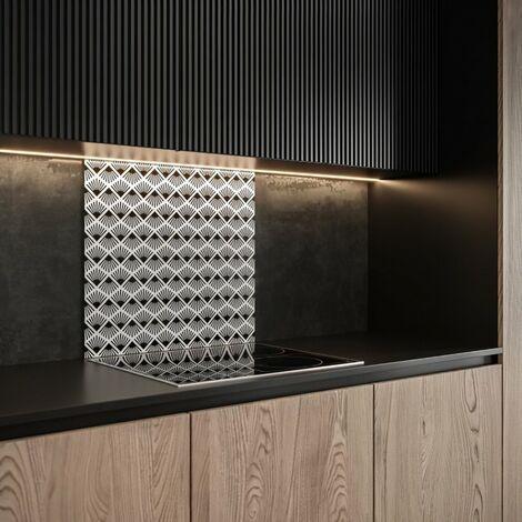 Saint-Gobain Fond de hotte en verre PAPYRUS obtenu par Impression digitale + émaillage45X90