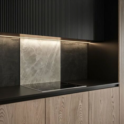 SAINT GOBAIN FOND DE HOTTE VERRE Onyx gris obtenu par Impression digitale + émaillage 70X60