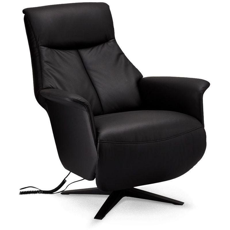 Pkline - Sala Recliner Sessel mit elektrischer Rückenlehne und Fußstütze, Drehfuss, Kunstleder, schwarz, Metall schwarz. 45-140084
