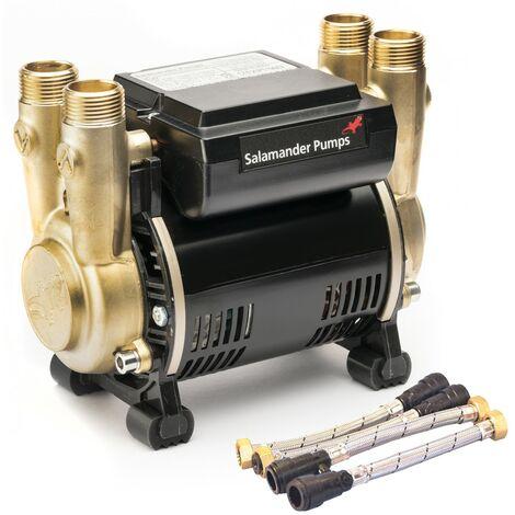 "main image of ""Salamander CTFORCE 20PT 2.0 Bar Brass Twin Impeller Shower Pump + Hoses"""