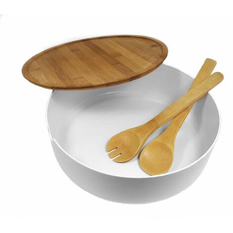 1.08 Salatschüssel XXL mit Besteck - Bambus / Kunststoff