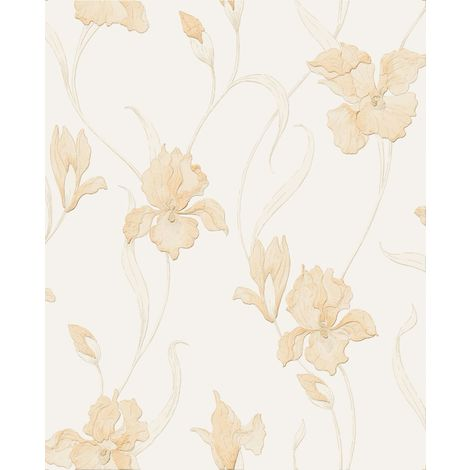 Boutique Iris Embossed Floral Natural Wallpaper (Was £24)