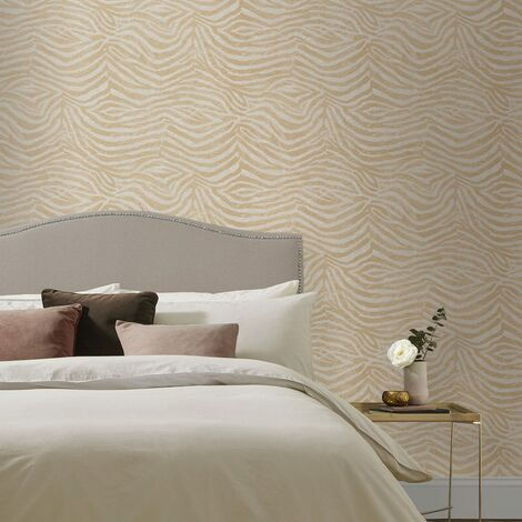 Sale Special Boutique Zebra White / Gold Wallpaper Animal Print (Was £25)