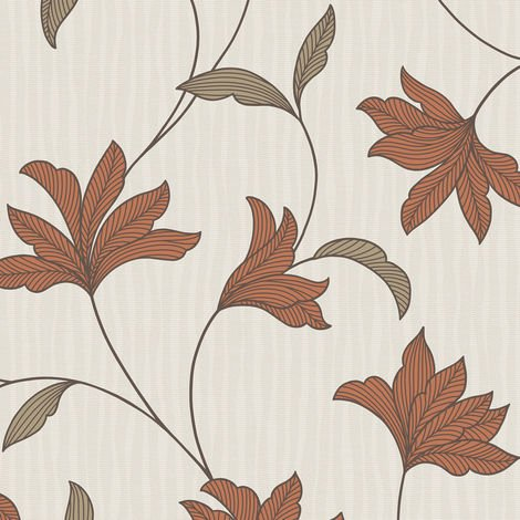 Sale Special Superfresco Alannah Burnt Orange Floral Wallpaper (Was £16)