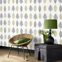 Sale Special Superfresco Leaf Light Grey/Green Floral Wallpaper (Was £9)