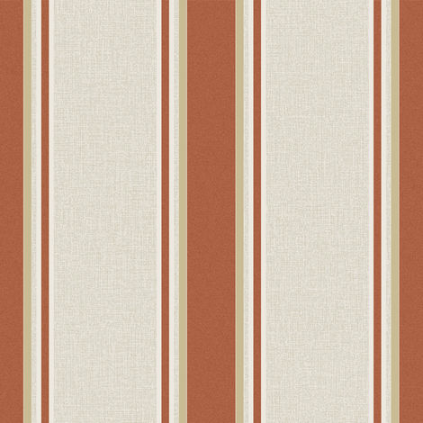 Sale Superfresco Orla Stripe Burnt Orange/Gold Metallic Wallpaper (Was £16)
