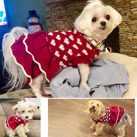 """main image of """"SalemHms Dog Sweater Dresses for Small Dog, Xmas Christmas cat Puppy Sweater"""""""