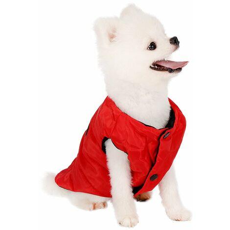 SalemHms Veste chaude pour chien doublée en polaire 2 couches pour chiot hiver froid, manteau doux coupe-vent pour petit chien