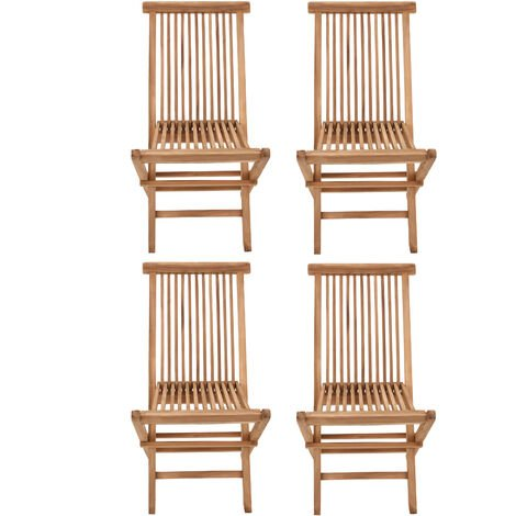 SALENTO - Lot de 4 Chaises de Jardin Pliantes en Teck pour l'Extérieur Teinte Naturelle - Teck naturel