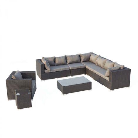 Salento noir/gris : salon de jardin panoramique 8 places en résine ...