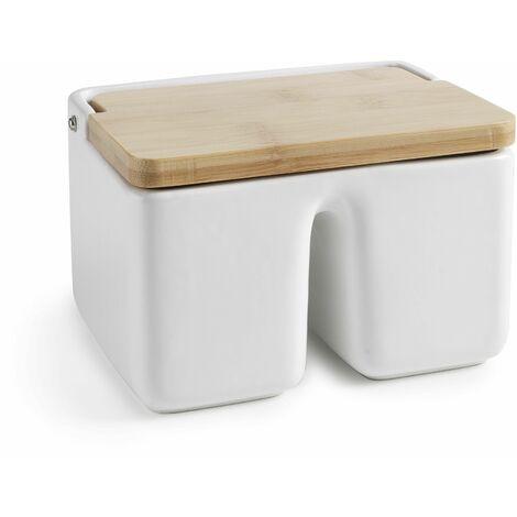 Salero doble en cerámica y bambú Ibili