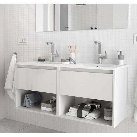 SALGAR 81297 NOJA Mueble+Lavabo Con 2 Cajones 120 Blanco Brillo