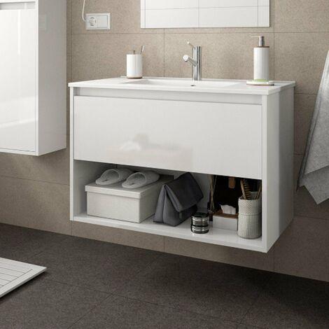 SALGAR NOJA Mueble+Lavabo Con 1 Cajón Blanco Brillo
