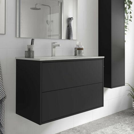 SALGAR OPTIMUS Mueble+Lavabo Negro Mate