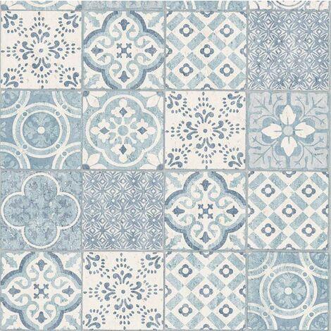 Salinas Safira Moroccan Tile Wallpaper Grandeco Paste The Wall Textured Vinyl