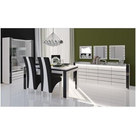 Salle à manger complète LINA blanche et noire. Buffet + Vaisselier + Table 180 cm + 6 x chaises + Miroirs - Blanc