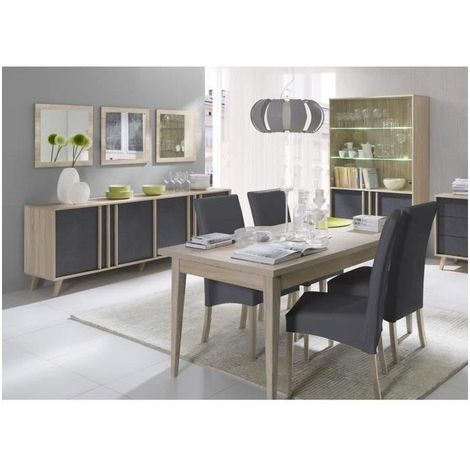 Salle à manger complète MALMO. Buffet + vaisselier + 3 x miroirs + Table 160 cm. Coloris sonoma et gris béton - Gris