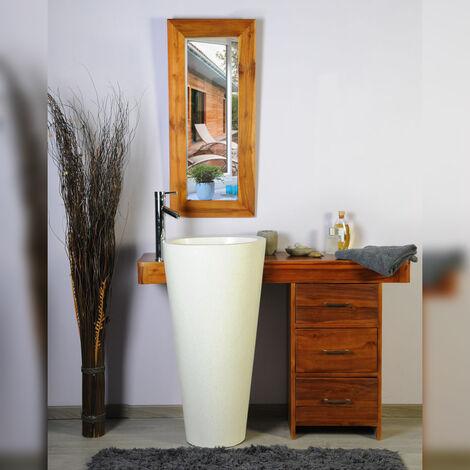 Salle bain teck 120 cleopatra blanc tiroirs