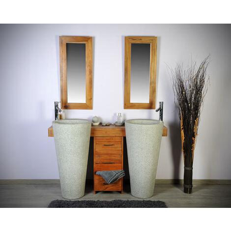 Salle bain teck 140 cleopatra gris tiroirs