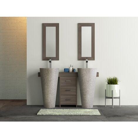 Salle bain teck cleopatra A3 double tiroirs gris
