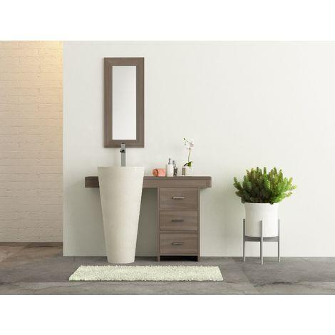 salle bain teck grisé cleopatra 120 tiroirs blanc