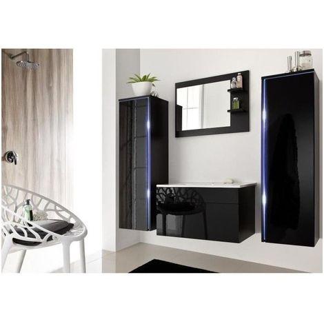 Salle de bain complète DREAM noir façade laqué, brillante high gloss + led + vasque en céramique + miroir.