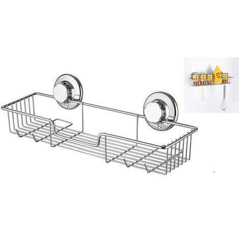 Salle de bain Douche Caddy Organisateur de rangement pour étagère de bain, ventouse sans dommage, panier métallique antirouille pour accessoires de cuisine et de salle de bain - Acier inoxydable antirouille