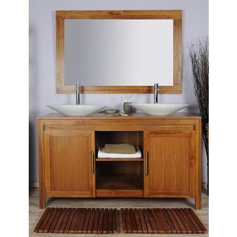 Salle de bain teck 140 grey naturel ensemble vasque blanc - 251