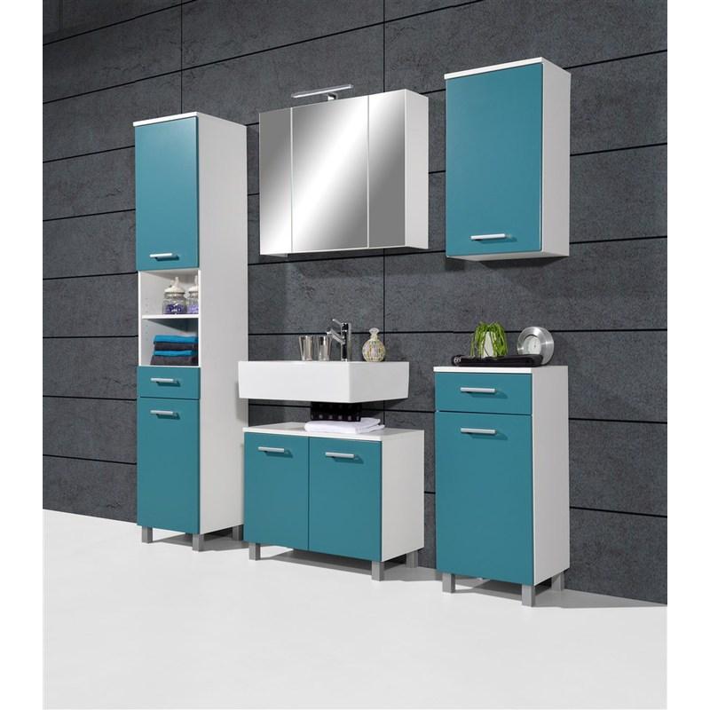 Salle de bains complète Swithome Colori Blanc/Bleu Petrol