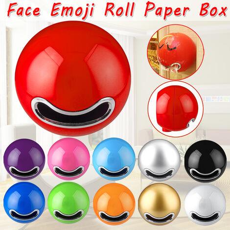 Salle de bains en forme de boule visage Emoji mural porte-papier hygiénique papier rouleau boîte (rouge)