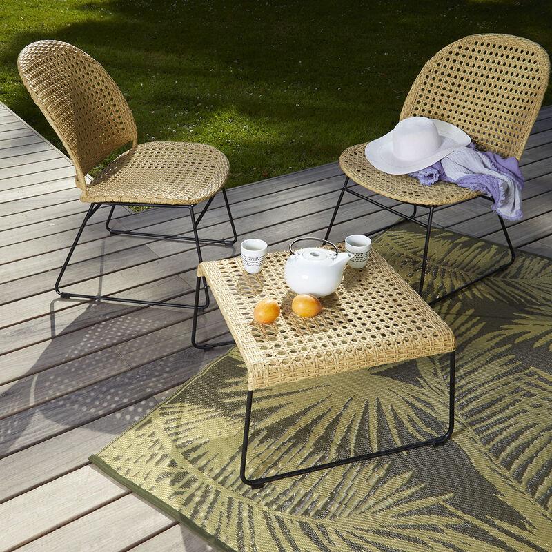 Salon bas en rotin et métal - 2 fauteuils + table