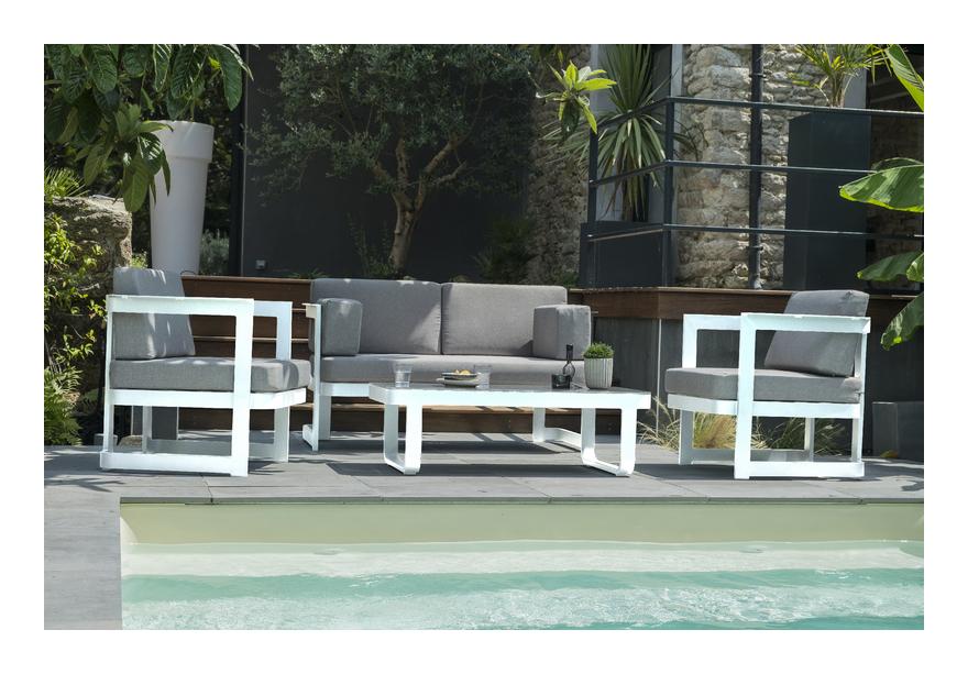 Salon de jardin BARCELONA 4P en aluminium BLANC