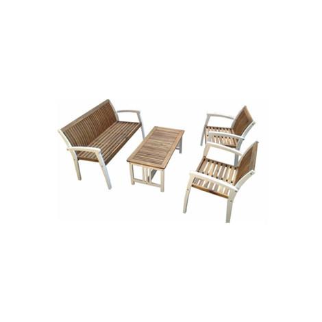 Salon bas 4 pièces BALI bi-color en acacia avec 1x canapé 2x fauteuils 1x  table basse